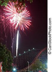 fogos artifício, em, parque divertimento
