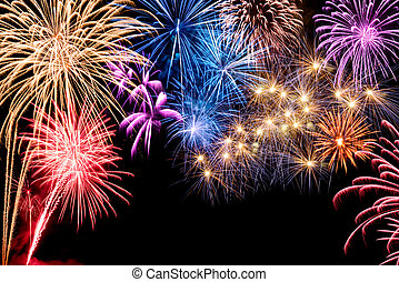 fogos artifício exibem, deslumbrante