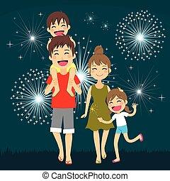 fogos artifício, família, feliz