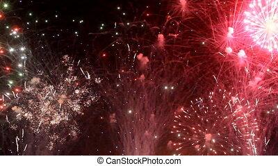 fogos artifício, feriado, coloridos, noturna