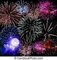 fogos artifício, final, grandioso