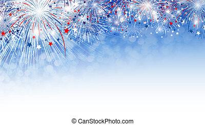 fogos artifício, fundo, desenho, com, espaço cópia
