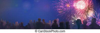 fogos artifício, ilustrado, espectador, silhuetas, luminoso, cintilante