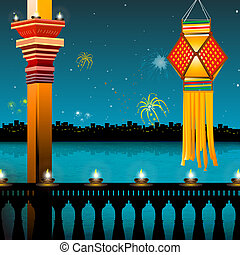 fogos artifício, lanternas, lâmpada, diwali, sacada, -, mais...
