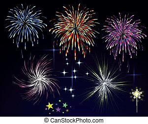 fogos artifício, sky., vetorial, noturna, feriado, saudação