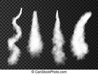 foguete, espaço, lançamento, isolado, experiência., fumaça,...