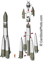 foguete espacial, infographics