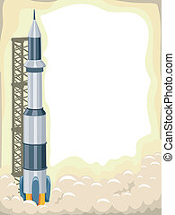 foguete, fundo, lançamento