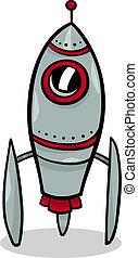 foguete, nave espacial, ilustração, caricatura
