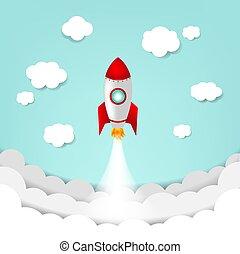 foguete, nuvem céu, caricatura