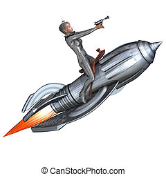 foguete, pin-up, retro, montando, menina, prata