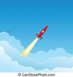 foguete vermelho, voando, para, a, estrelas