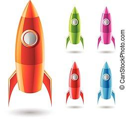 foguetes, coloridos, ícones