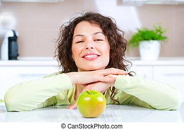 fogyókúra, nő, egészséges, concept., fiatal, táplálék., gyümölcs, friss, eteti magát