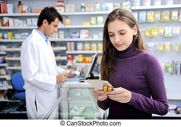 fogyasztó, noha, orvosság, -ban, gyógyszertár