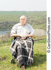 fogyatékos, bábu ül, alatt, övé, tolószék