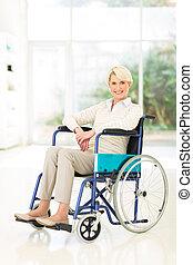 fogyatékos, középső, nő, idős