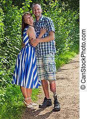 fogyatékos, magabiztos, övé, ember, feleség