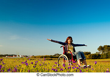 fogyatékos, nő, tolószék