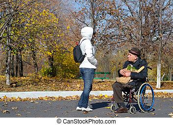 fogyatékos, senior bábu, alatt, egy, tolószék