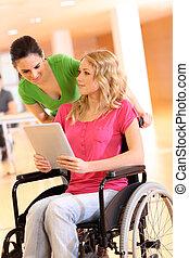 fogyatékos személy, munka, elektronikus, tabletta