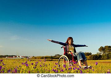 fogyatékos, tolószék, nő