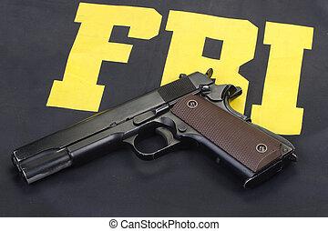 fohlen, regierung, m1911, pistole, auf, fbi, uniform