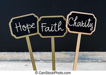 foi, concept, craie, écrit, message, espoir, charité