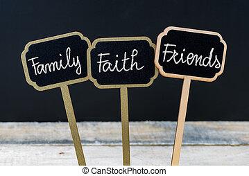 foi, concept, famille, craie, écrit, message, amis