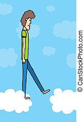 foi, marche, nuages, saut, /