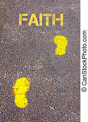 foi, message, trottoir, pas, jaune, vers
