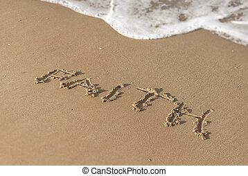 foi, sand., ensoleillé, message, plage, jour