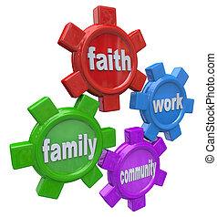 foi, vie, famille, travail, -, communauté, équilibrage, engrenages