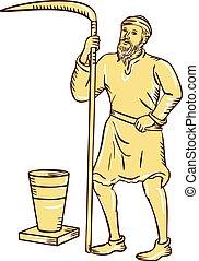 foice, agricultor, cauterizando, segurando, medieval