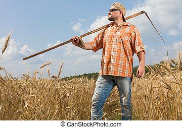 foice, modernos, agricultor