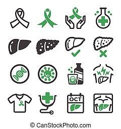 foie, cancer, icône