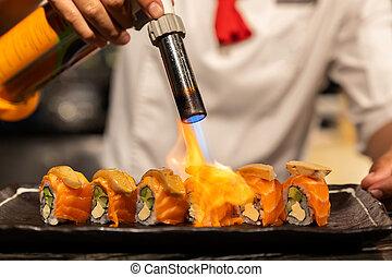 foie, cuisine, saumon, gras, chef cuistot, rouleau
