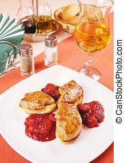 foie gras, 上, a, 安排桌子