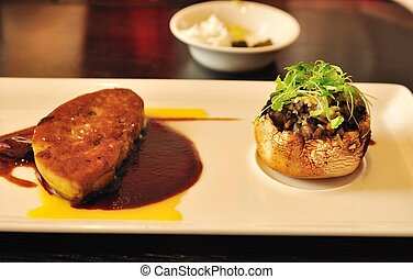 Foie gras on plate, goose liver on plate