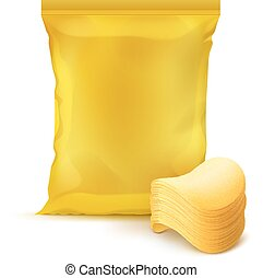 Vector Yellow Vertical Sealed Foil Plastic Bag for Package Design with Stack of Potato Crispy Chips Close up Isolated on Background
