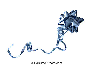 foil bow isolated - blue foil bow with a long ribbon ...