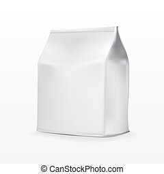 Foil Paper Food Bag Package Of Coffee, Salt, Sugar, Pepper, Spices Or Flour, Folded, Grayscale.