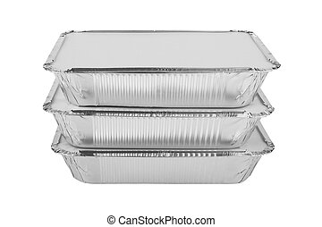 Foil trays for food on a white background
