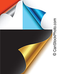 foiled backed curled corners. Vector illustration.