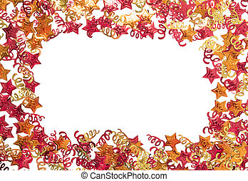 Foiled gold ribbons and stars. Frame with ribbons. Scattered stars border.