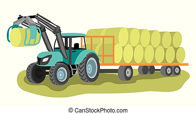 foin emballotte, tracteur, charrette, chargeur