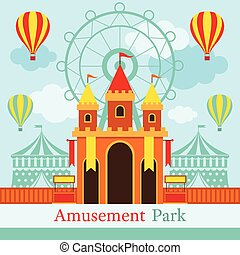 foire, carnaval, parc, amusement, amusement, château