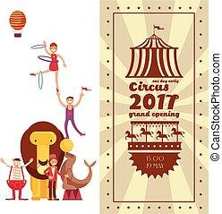 foire, carnaval, vendange, cirque, vecteur, affiche, amusement