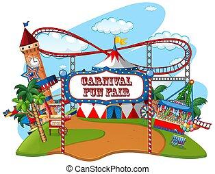 foire, isolé, amusement, thème, fond, parc