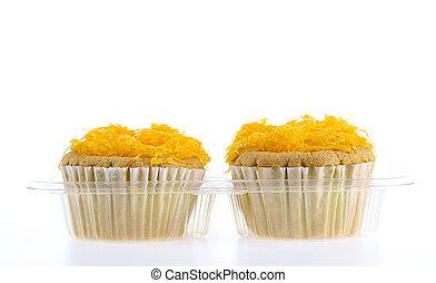 Foithong Cake, Golden thread cake isolate on white.